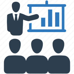 analytics, business, business meeting, graph, presentation, team, training icon