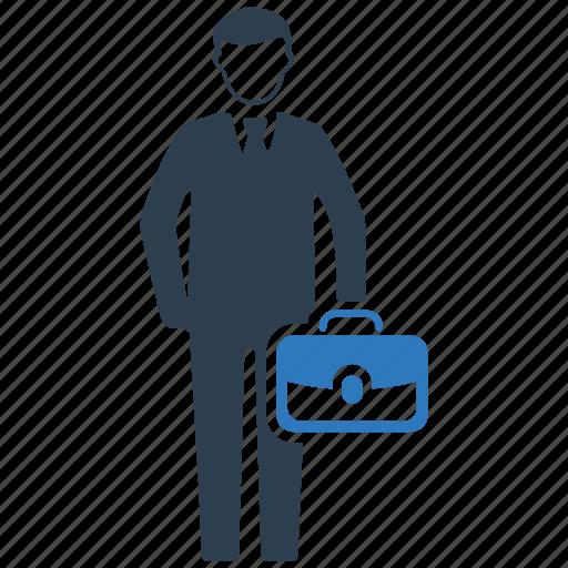 briefcase, business, businessman, employee, man, management, office icon
