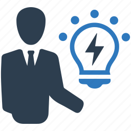 brainstorming, business idea, businessman, creativity, light bulb, solution, strategy icon