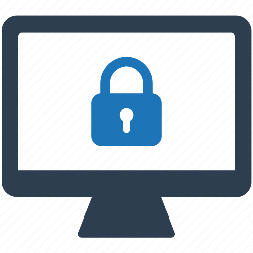 computer, lock, monitor, screen, security icon