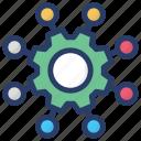 business management, communication network, network management, organization development icon