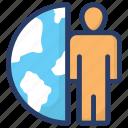 businessman, customer, global businessman, international client, man and globe icon