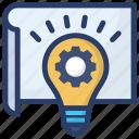 bright idea, creative idea, creative writing, idea generation, idea symbol, innovation icon