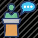 debate, lecture, seminar, speech, talk icon