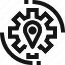 gear, gear icon, pin, pin icon icon