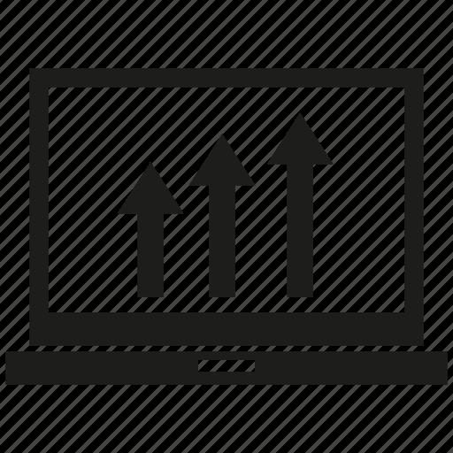 arrow, chart, computer, data, graph icon