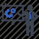 configuration, gear, presentation, process, settings icon