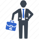 briefcase, businessman, going, office icon