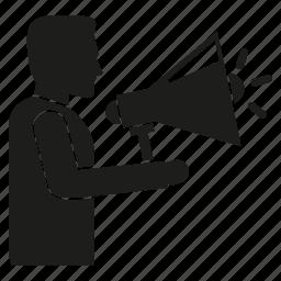 announce, megaphone, speaker icon