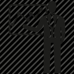 analysis, business man, chart, graph, marketing analysis, presentation icon