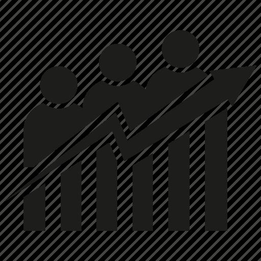 analysis, arrow, bar chart, business man, chart, graph, growth icon