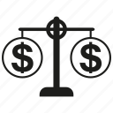 balance scale, dollar, finance, money icon