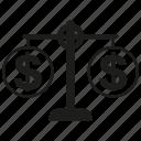 balance scale, dollar, finance, money icon