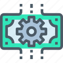 bank, banking, business, financial, gear, management, process icon