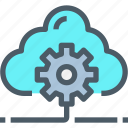cloud, develop, gear, management, network, process icon