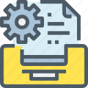 business, data, develop, document, gear, management, process icon