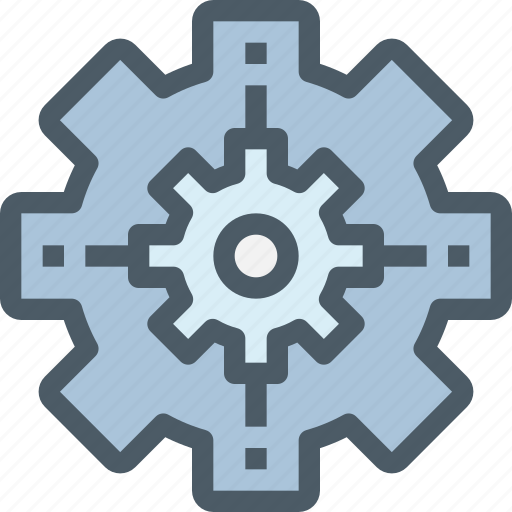 corporate, factory, gear, management, process, production icon
