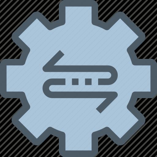 arrow, exchange, factory, gear, management, process icon