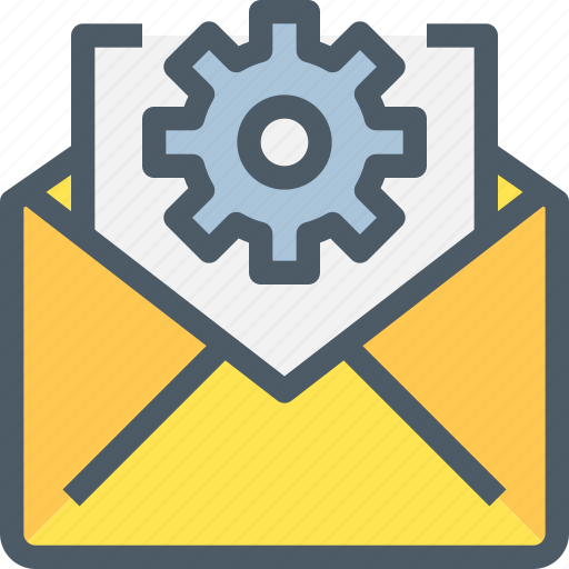 business, email, gear, letter, mail, management icon
