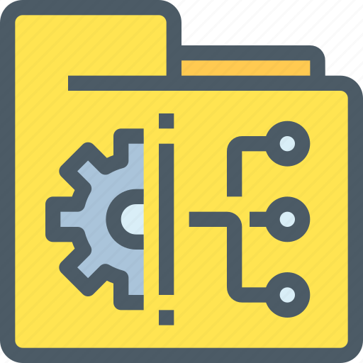connect, corporate, document, file, gear, management, network icon