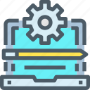 computer, develop, gear, management, pencil, process icon