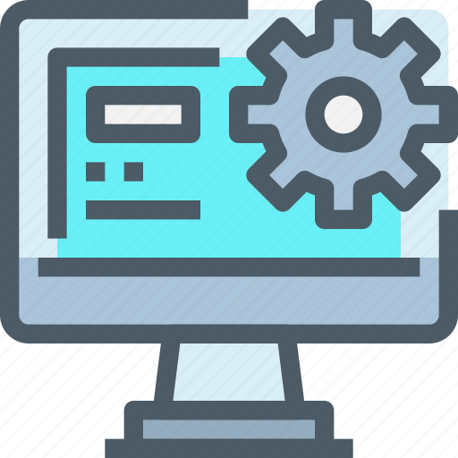 Management, gear, process, data, computer, technology icon