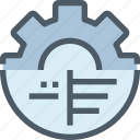 analysis, data, gear, management, process icon