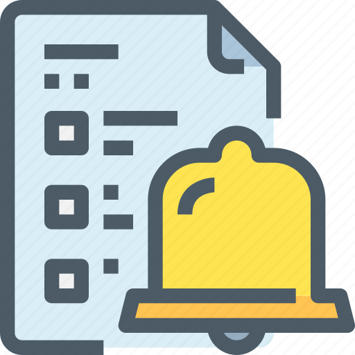 bell, document, management, school, time, timer icon