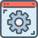 browser, develop, gear, management, process icon
