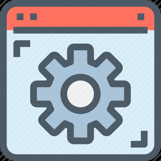 browser, develop, gear, management, process icon