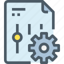 document, file, gear, management, option, setting icon