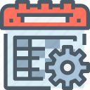 business, calendar, event, gear, management, plan, planning icon