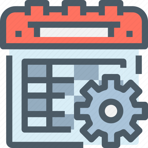 business, calendar, event, gear, management, plan, planning icon