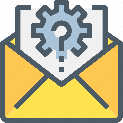 communication, email, gear, letter, mail, management, message icon