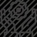 development, engine, gear, hands, production, work, workflow icon