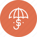 currency, insurance, money, protection, safety, security, umbrella