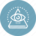 conspiracy, eye, pyramid, search, view, vision, watch icon