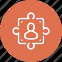 person, problem, puzzle, solution, solving, success, teamwork icon