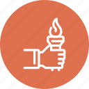 aspirations, fire, goals, hand, motivation, success, torch icon