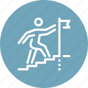 career, flag, goal, ladder, person, stairs, success icon