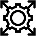 arrows, business, cog, gear, gear wheel, setting icon