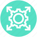 arrows, business, cog, gear, gear wheel, setting icon