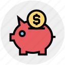 coin, dollar, money, pig, piggy bank, saving icon