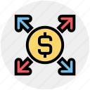 affiliate, arrows, banking, business growth, dollar, financial icon