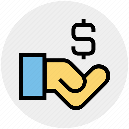 dollar, economy, finance, hand, loan, money, sign icon