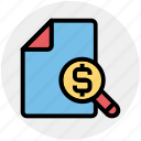 business, dollar, magnifier, money, paper, sheet icon