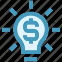 bulb, creativity, dollar, financial, idea, light, money