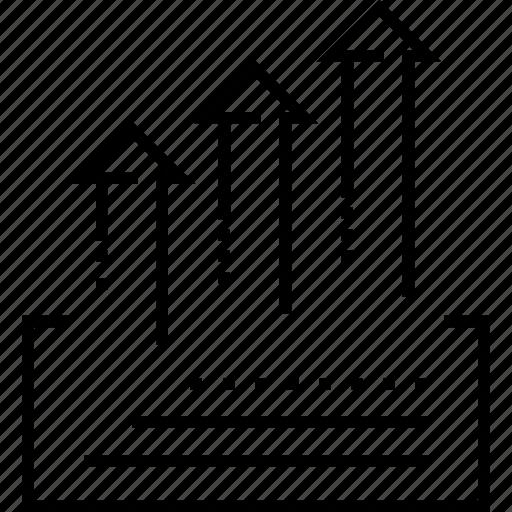 arrows, data, growth, information flow, statistics icon