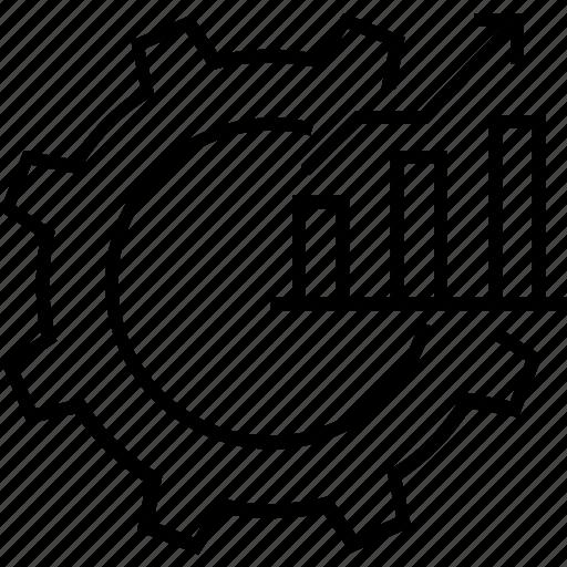 analytics, bar chart, cog, performance, productivity icon