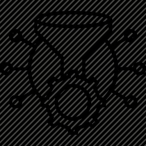 cogwheel, data management, data preparation, funnel, management icon